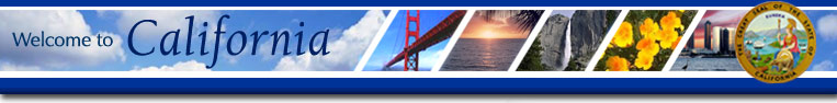 Welcome to California - images of the Golden Gate Bridge, ocean sunset, Yosemite Falls, poppy flowers, San Diego skyline, and state seal